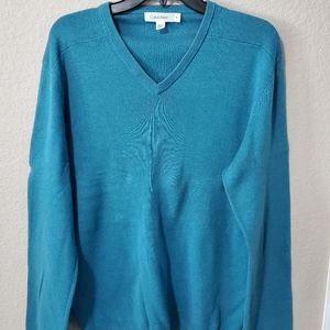 Calvin Klein Turquoise V-Neck Sweater